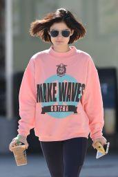 Lucy Hale Wearing a Baggy Pink Sweatshirt - Picks Up a Coffee in LA 06/09/2017