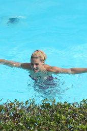 Michelle Hunziker in the Swimming Pool in Bergamo 06/25/2017