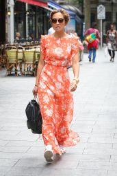 Myleene Klass in Orange Dress at Global Radio Studios in London 06/22/2017