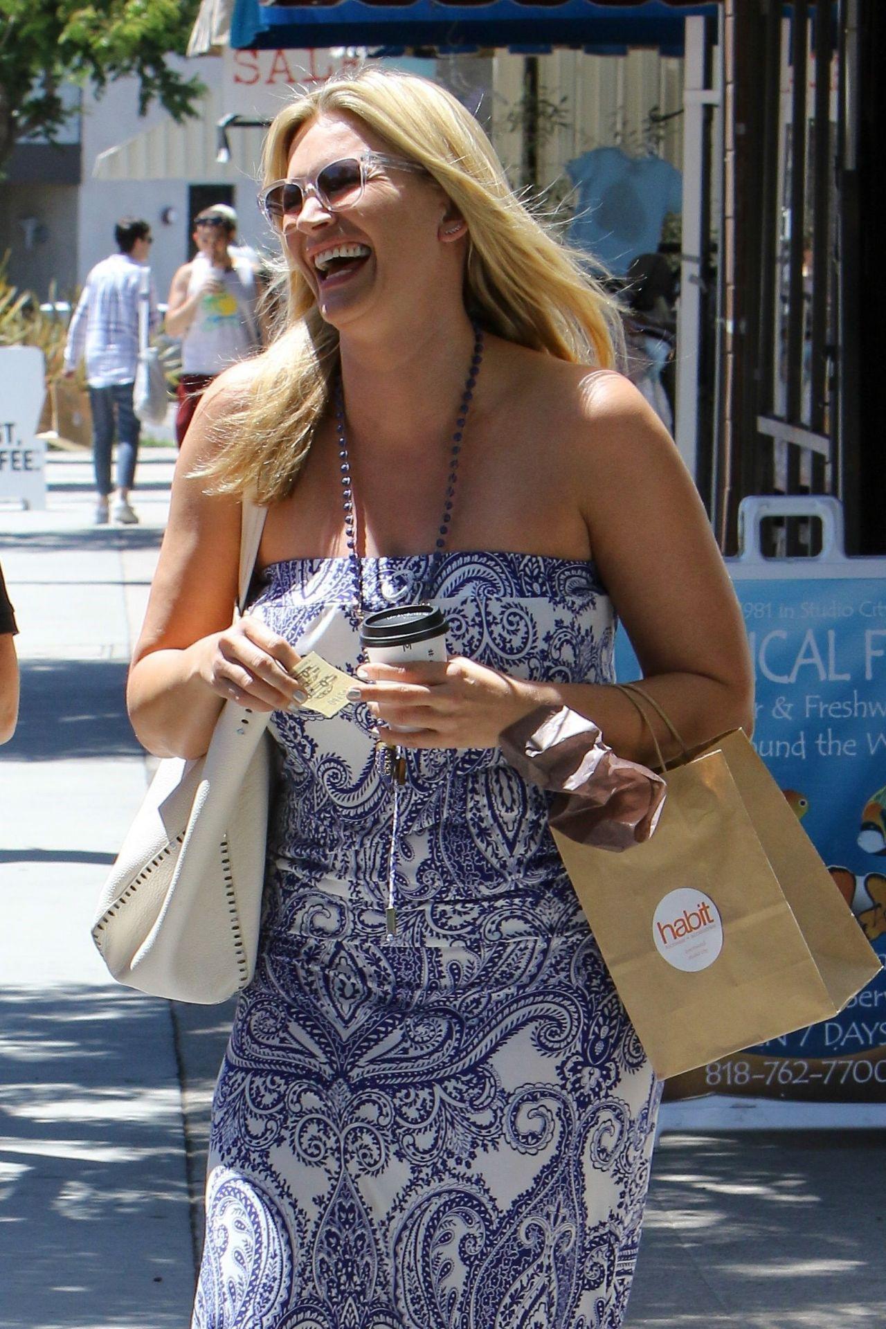 Natasha Henstridge Grabs A Coffee Whilst Shopping In La