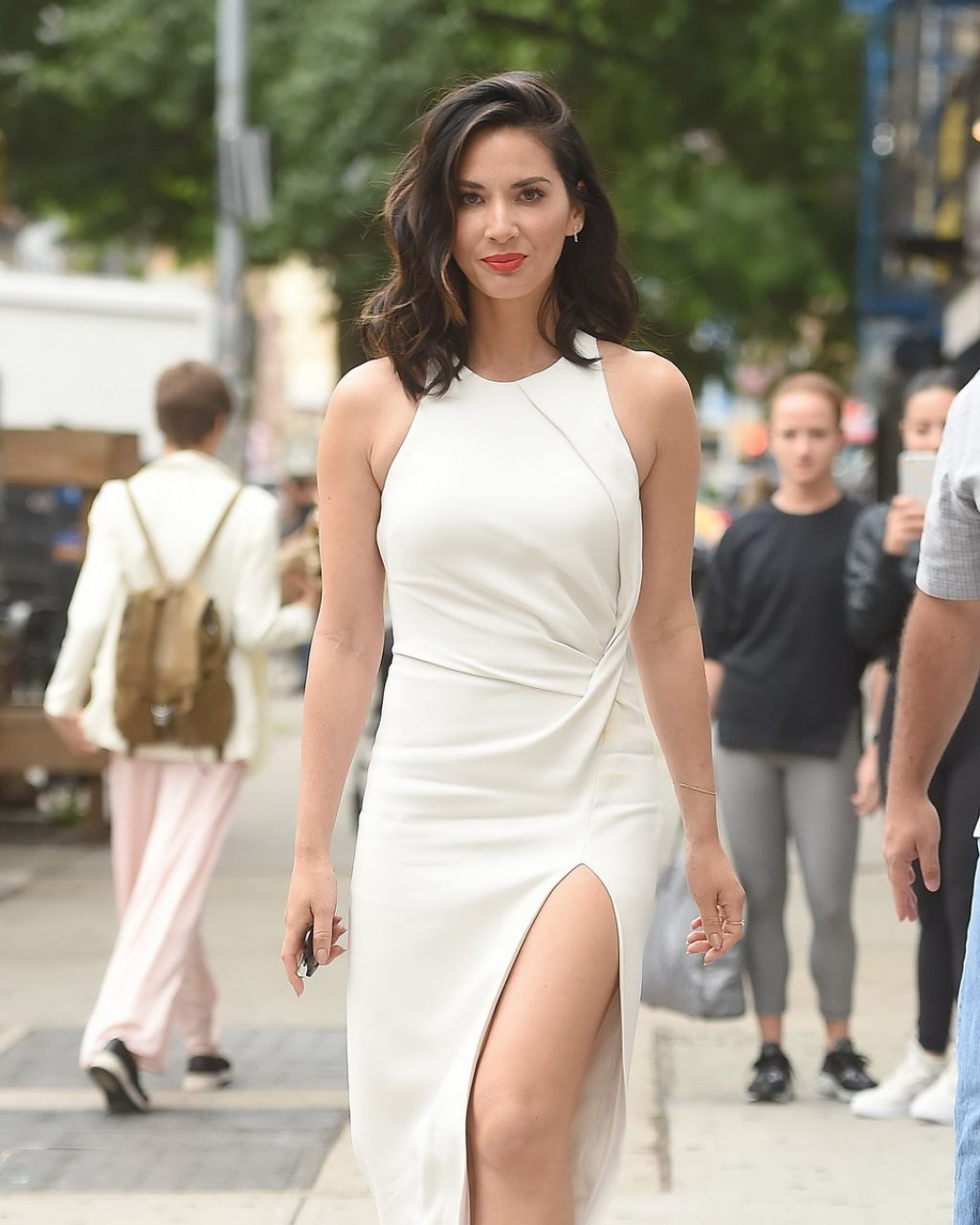 Olivia Munn sexy white dress and heels
