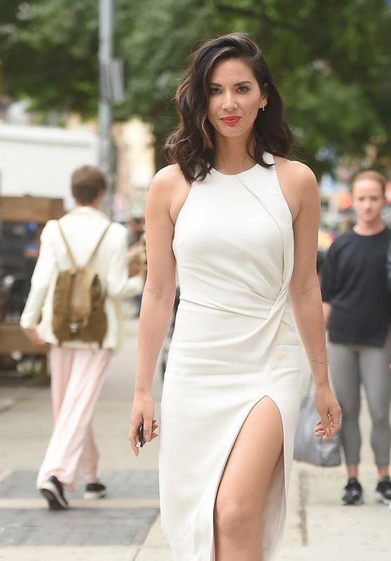 Olivia Munn Wearing a Cream Dress - New York City 05/16/2017