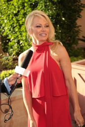 Pamela Anderson in all Red - Montage Hotel in Beverly Hills 06/10/2017