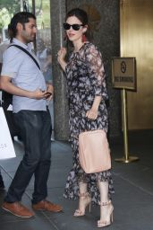 Rachel Bilson in a Floral Print Dress  - NYC 06/22/2017