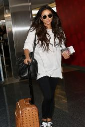 Shay Mitchell - Spotted at LAX Airport dressed in a casual stare long sleeve in LA June 17, 2017
