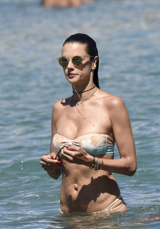 Alessandra Ambrosio Bikini Candids - Beach in Mykonos, Greece 07/05/2017