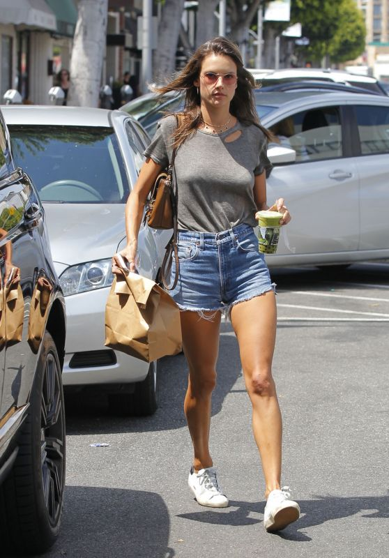 Alessandra Ambrosio in Denim Shorts at Earth Cafe in Beverly Hills 07/25/2017