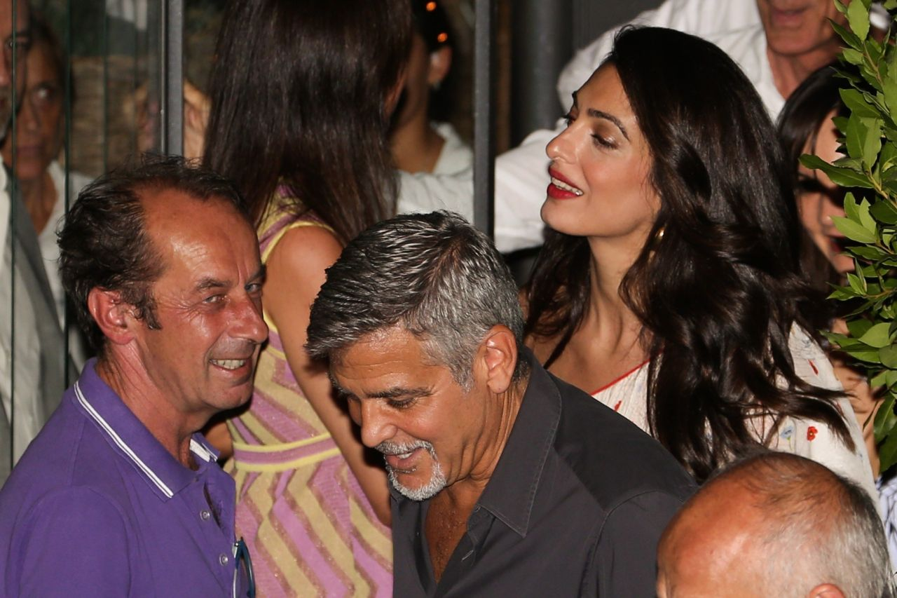 alamuddin and george clooney - leave the restaurant the black cat