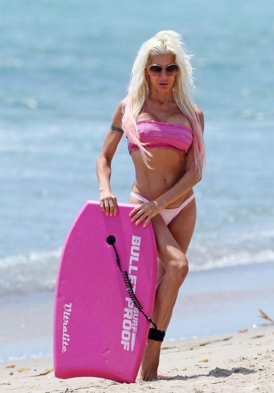 Angelique Morgan in a Pink Bikini - Malibu Beach 07/06/2017