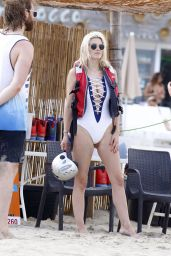 Ashley James in a One-Piece White Swimsuit - Beach in Ibiza 07/21/2017