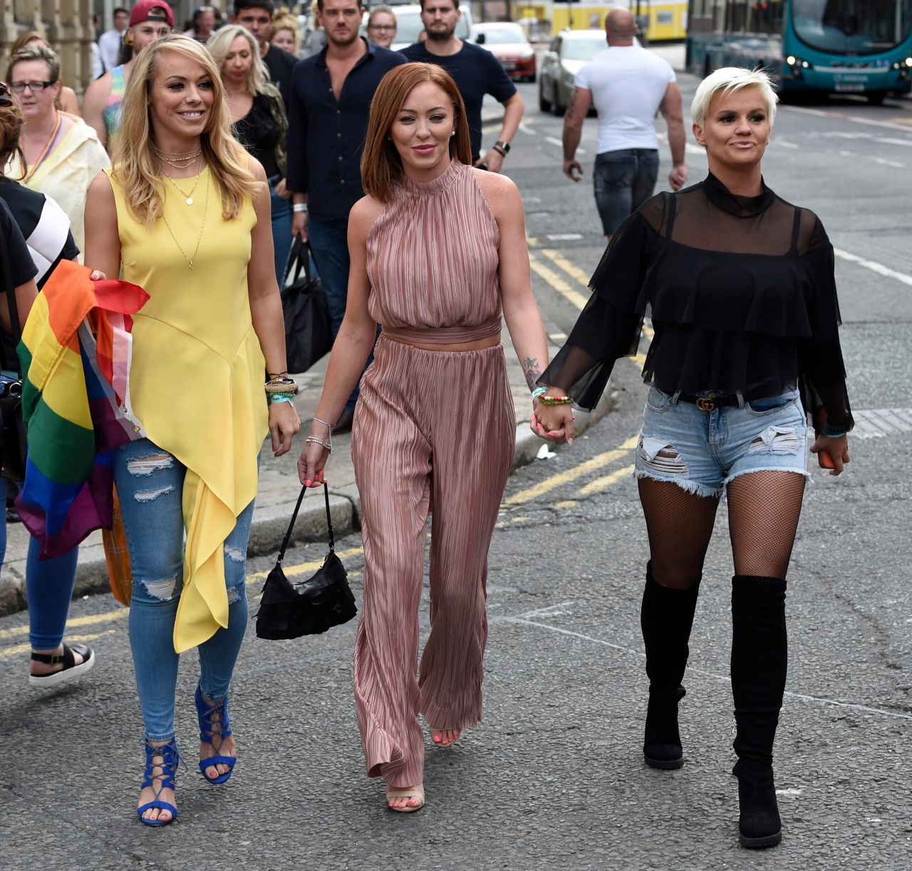 Atomic kitten pose for pictures in liverpool