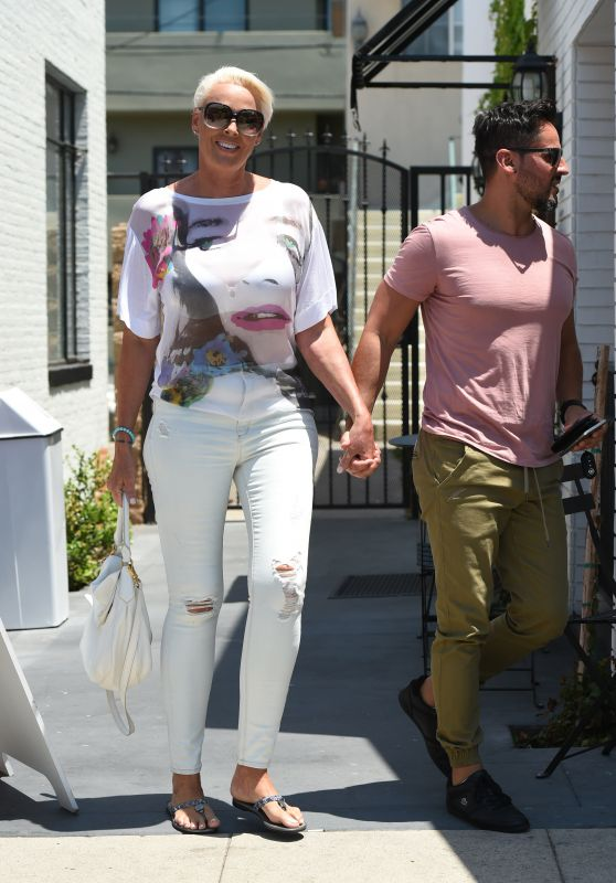 Brigitte Nielson Street Style - Goes Out to Lunch With a Friend in LA 07/06/2017