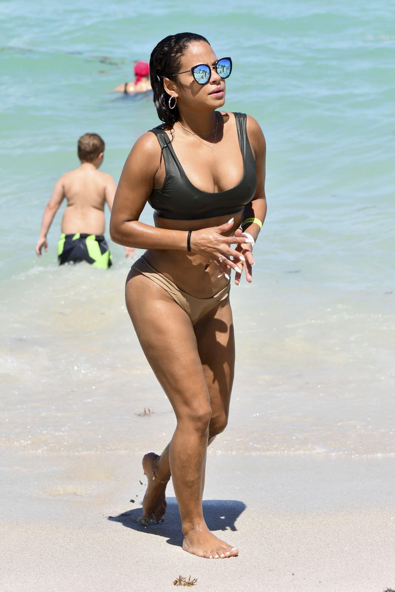 Christina milian sexy beach bikini selfie vid 9