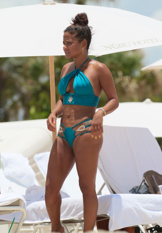 Christina Milian in a Blue Bikini - Miami 07/20/2017