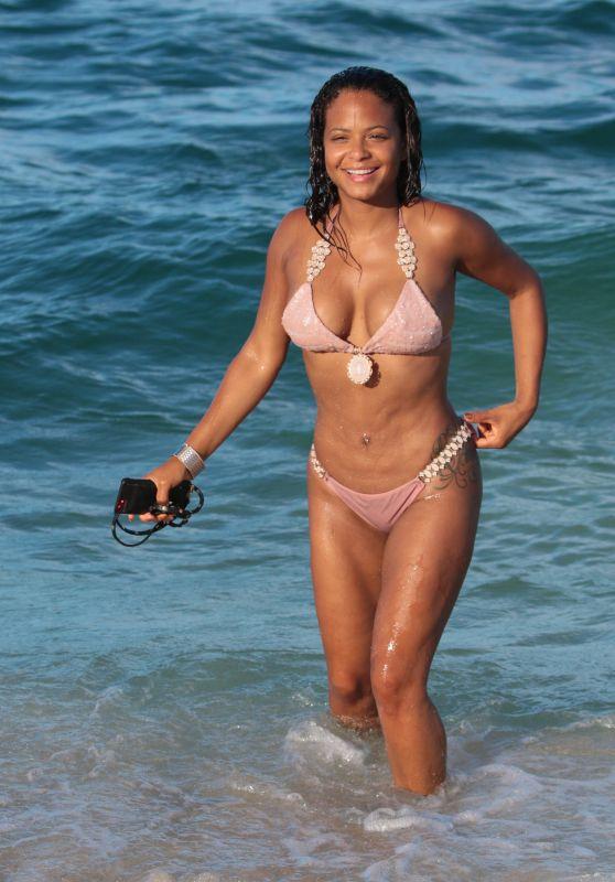 Christina Milian in Bikini at the Beach in Miami 07/11/2017