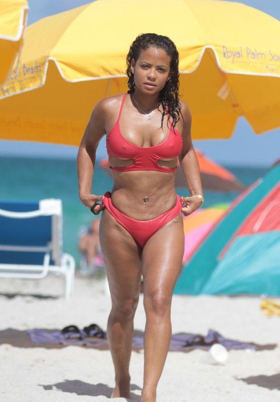 Christina Milian in Red Bikini - Miami Beach 07/15/2017
