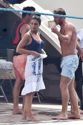 Christine Bleakley in Blue Swimsuit & Caftan - On a Yacht in Portofino, Italy 07/15/2017