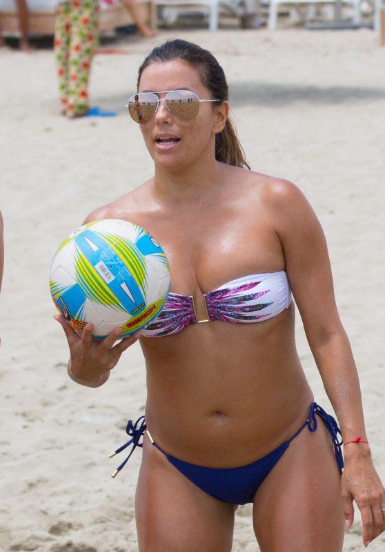 Eva Longoria Play a Beach Volley Match - Holidaying in Ibiza 07/21/2017