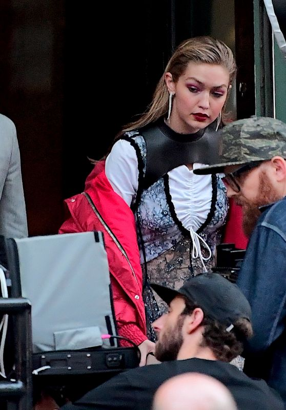 Gigi Hadid on the Set of a Stunning Photoshoot in NYC 07/29/2017