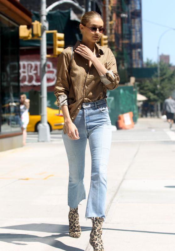 Gigi Hadid Wearing Animal Print Booties - NYC 07/18/2017
