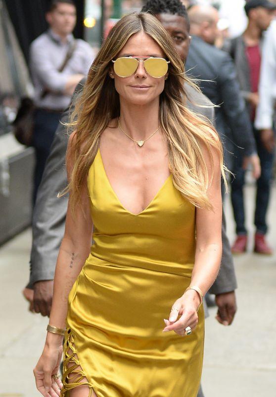 "Heidi Klum in a Gold Dress - Leaving ""Good Morning America"" in NYC 07/06/2017"