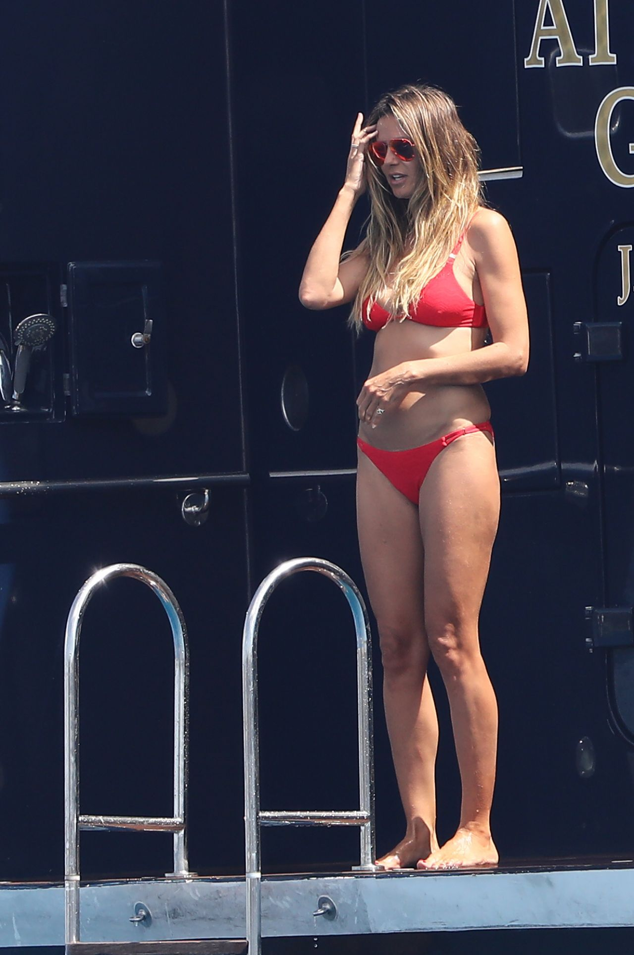 Heidi Klum in a Red Bikini on a Yacht - Saint-Tropez ...