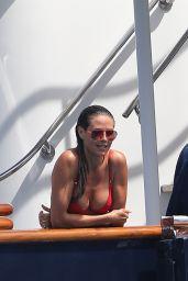 Heidi Klum in a Red Bikini on a Yacht - Saint-Tropez, France 07/27/2017