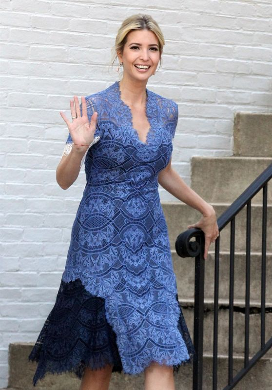 Ivanka Trump in a Blue Summer Dress - Washington, D.C. 07/25/2017