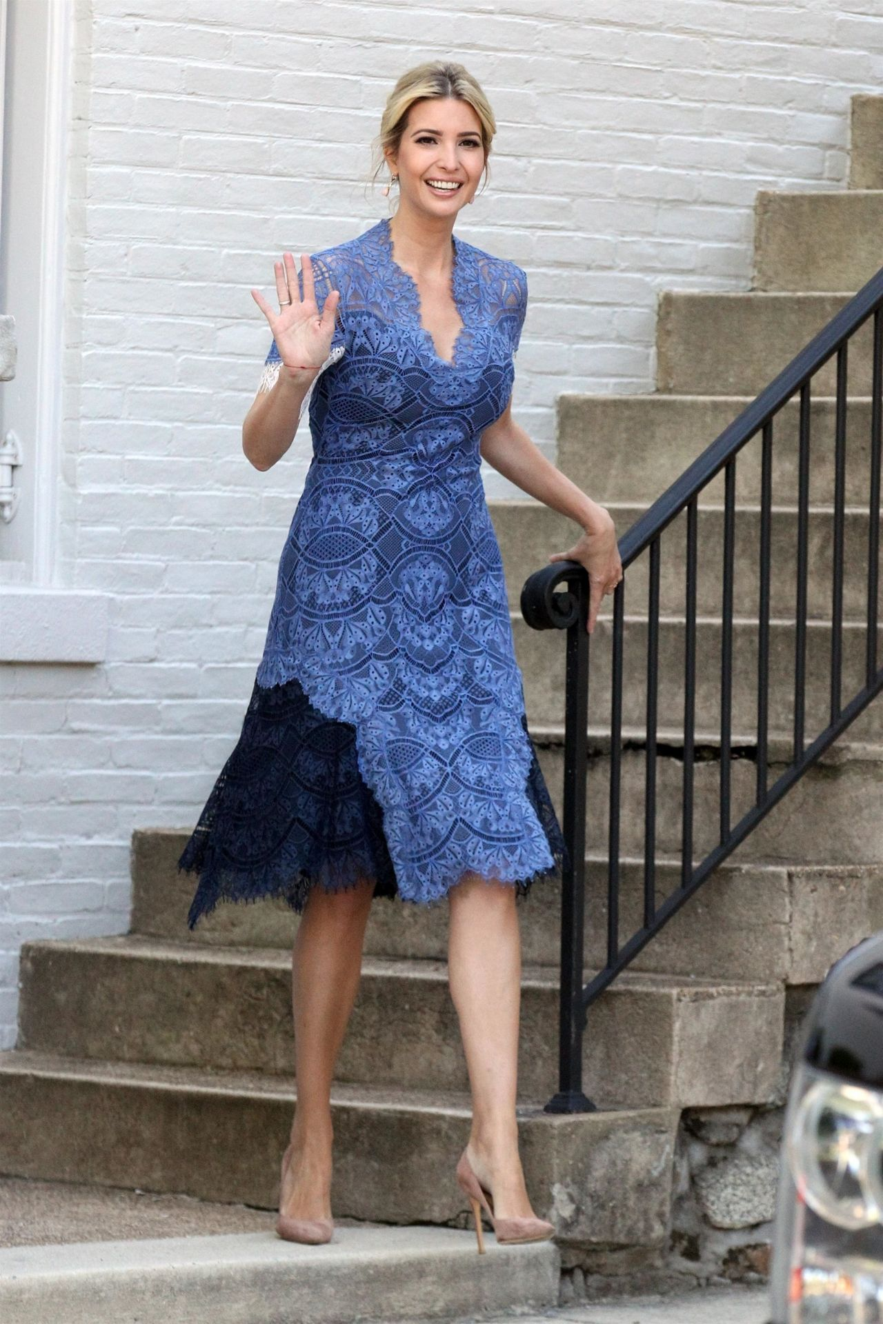 Ivanka Trump in a Blue Summer Dress - Washington, D.C. 07 ...