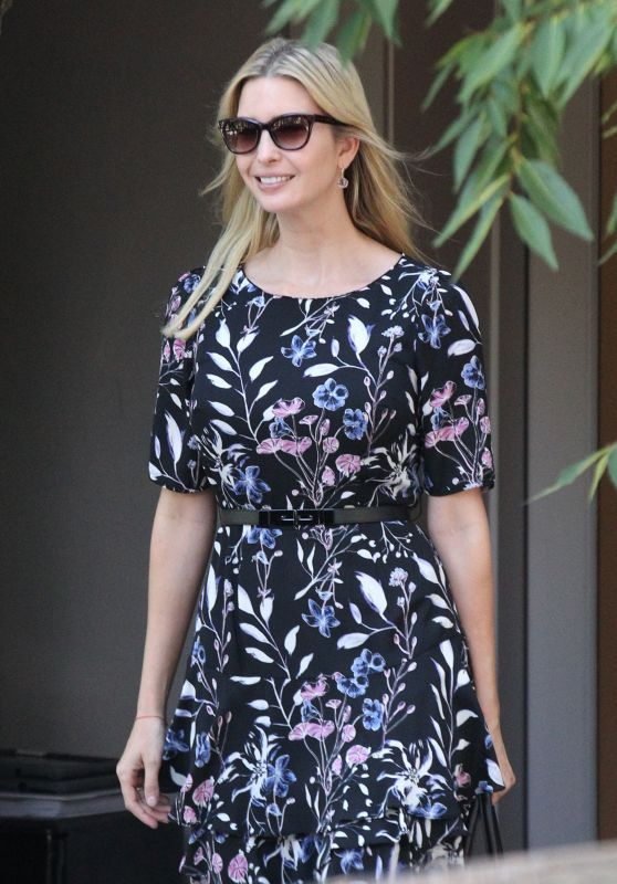 Ivanka Trump Wearing a Big Smile and a Pretty Floral Dress - Leaving Her Washington DC Home 07/24/2017
