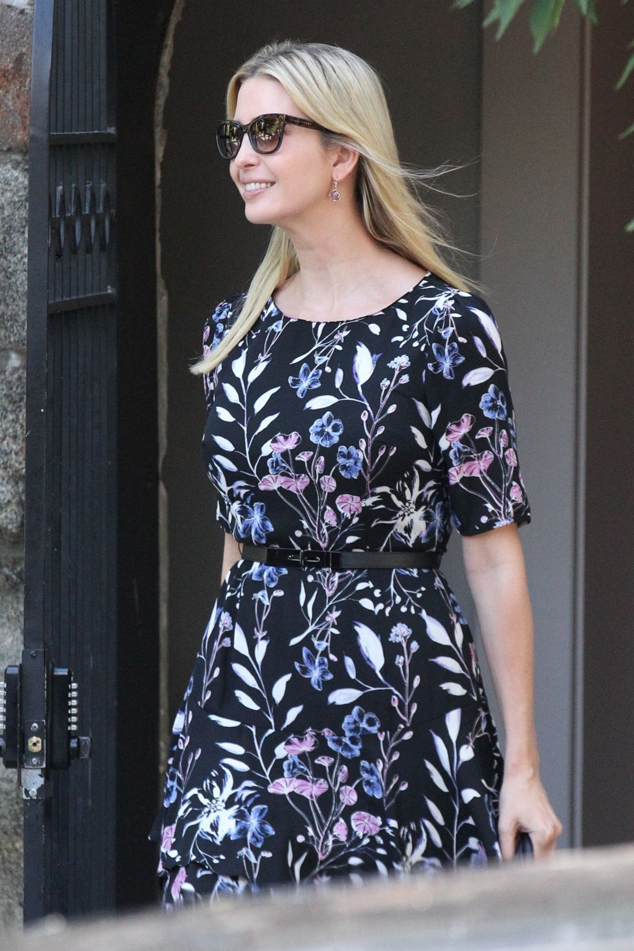 Ivanka Trump Wearing A Big Smile And A Pretty Floral Dress