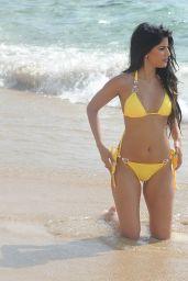 Jasmin Walia inYellow Bikini on Beach in Ibiza 07/05/2017