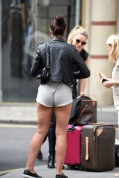 Jessica Shears Leggy in Shorts - Leaving her Manchester Hotel 07/13/2017
