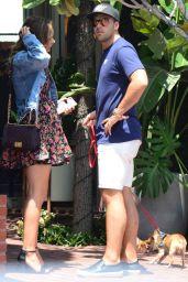 Katharine McPhee Leggy in Mini Skirt - Outside Fred Segal in West Hollywood 07/19/2017