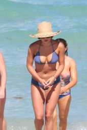 Keleigh Sperry in Blue Bikini at the Beach in Miami 07/09/2017