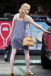 Kirsten Dunst in a Short Floral Button Up Dress in Toluca Lake 07/16/2017