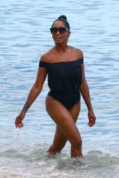 Latoia Fitzgerald in a Black One Piece Bathing Suit - Miami 07/18/2017
