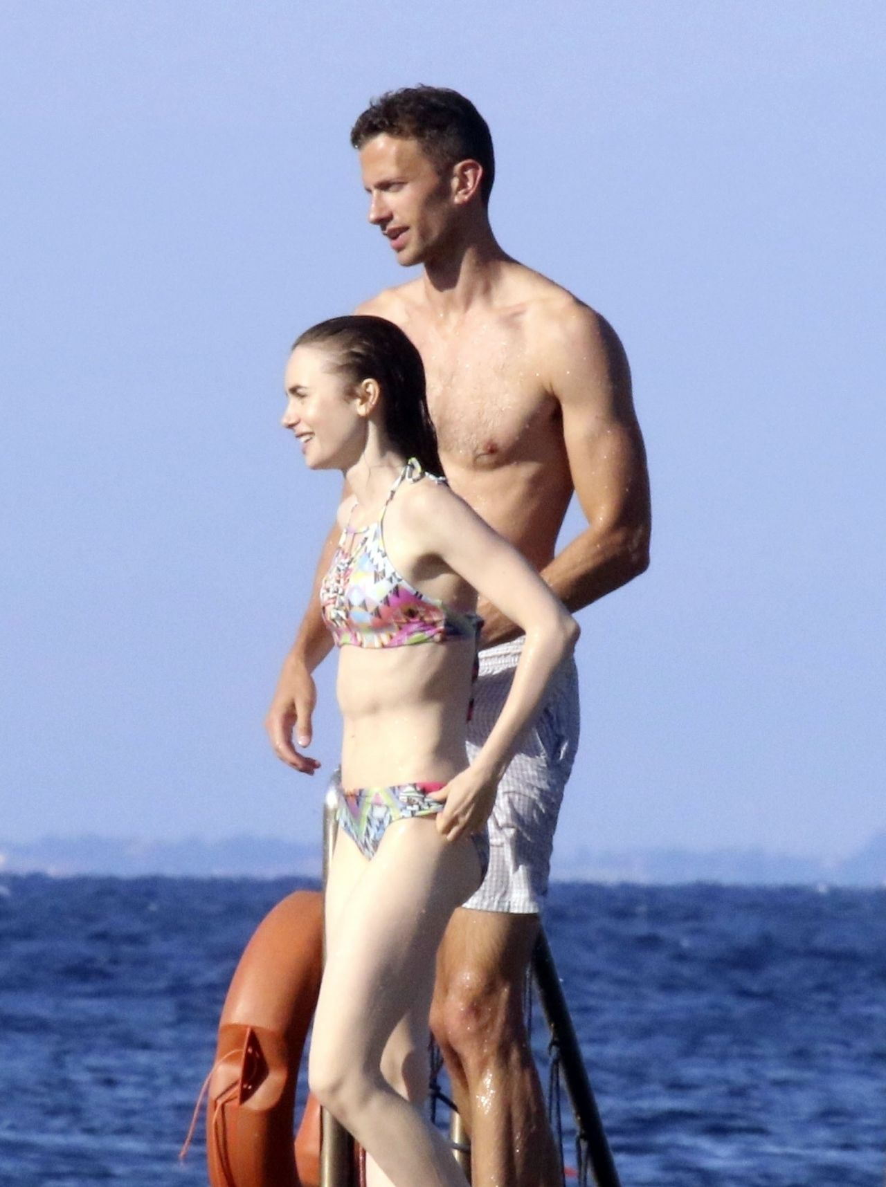 Lily Collins Bikini Candids Beach In Ischia Italy 07 17