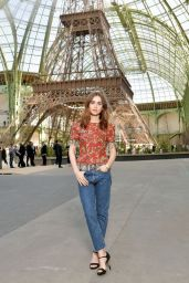 Lily Collins - Chanel Show, Front Row AW17 in Paris, France 07/04/2017