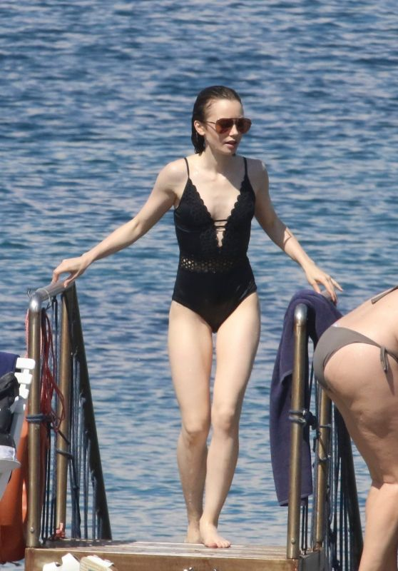 Lily Collins in Swimming Costume - Beach in Italy 07/15/2017