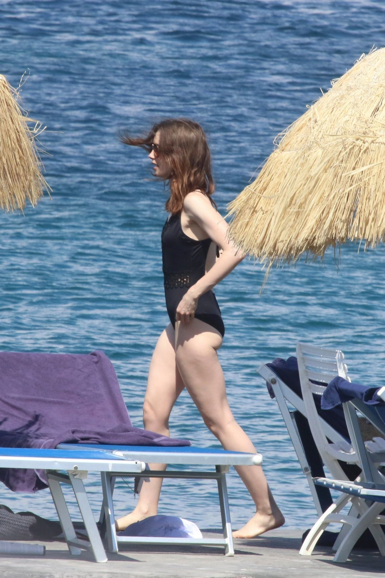 Lily Collins In Swimming Costume Beach In Italy 07 15 2017