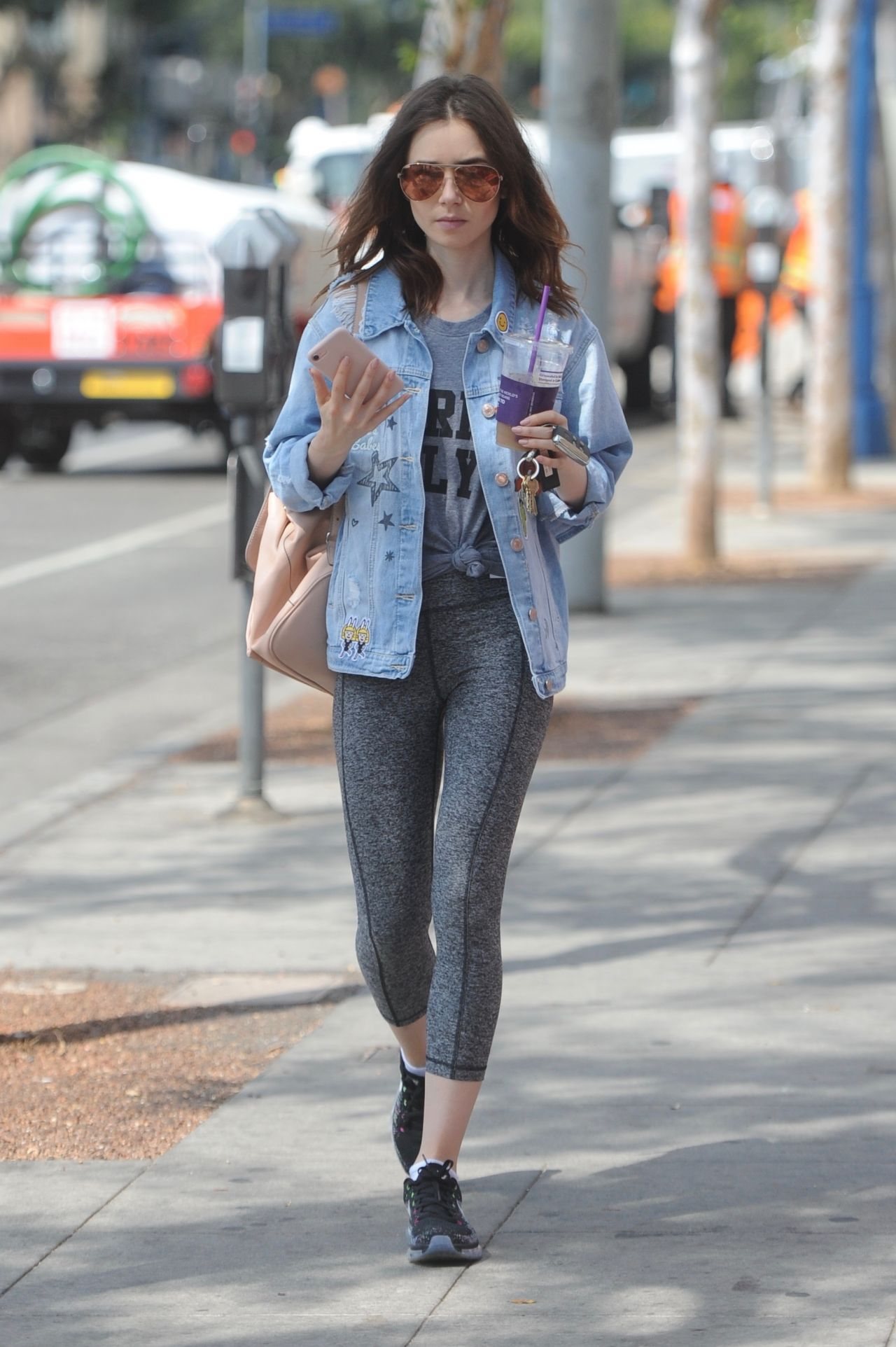 Lily Collins In Tights After Her Workout In Beverly