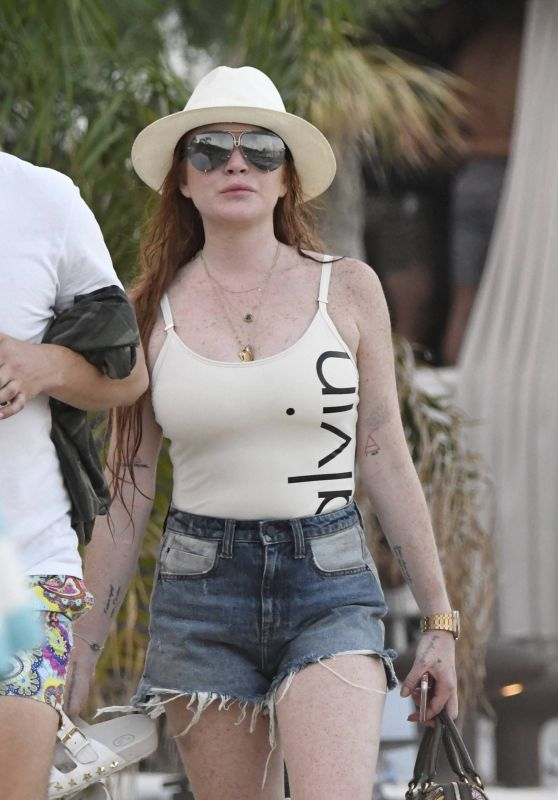 Lindsay Lohan - Arriving on the Beach in Mykonos, Greece 06/30/2017