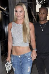 "Lindsey Vonn - Arriving for Dinner at ""Craigs"" Restaurant in West Hollywood 07/07/2017"