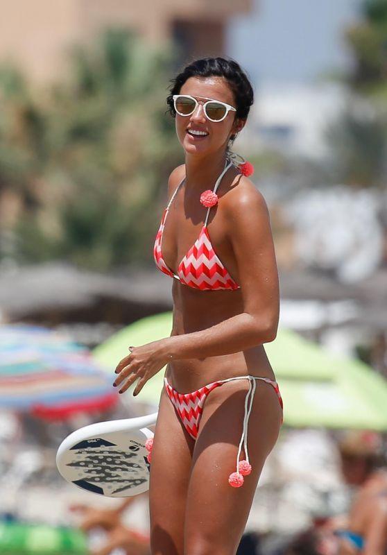 Lucy Mecklenburgh in Bikini - Playing Tennis on Beach in Ibiza 07/22/2017