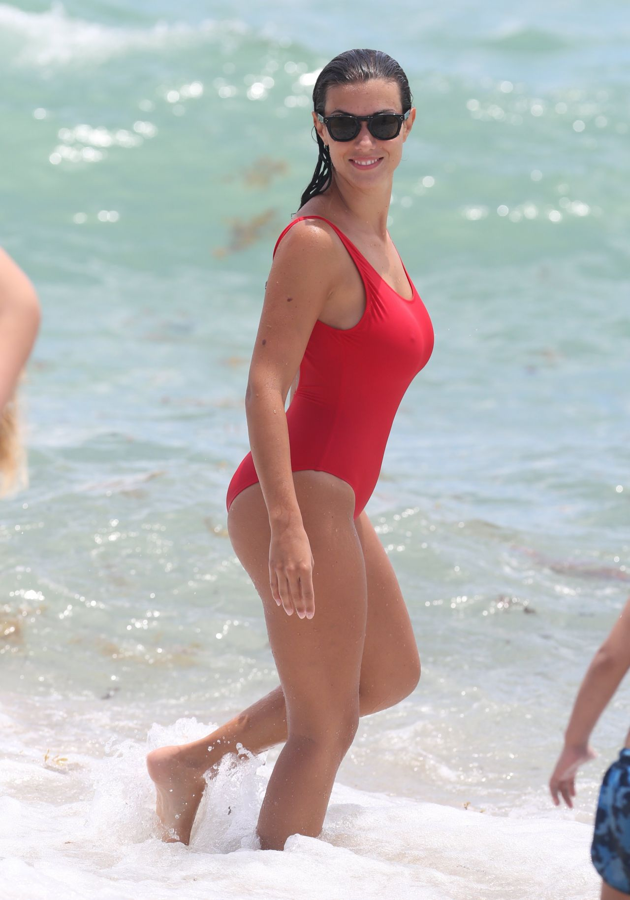 ludivine kadri sagna in a red swimsuit   vacations in miami 07 12 2017