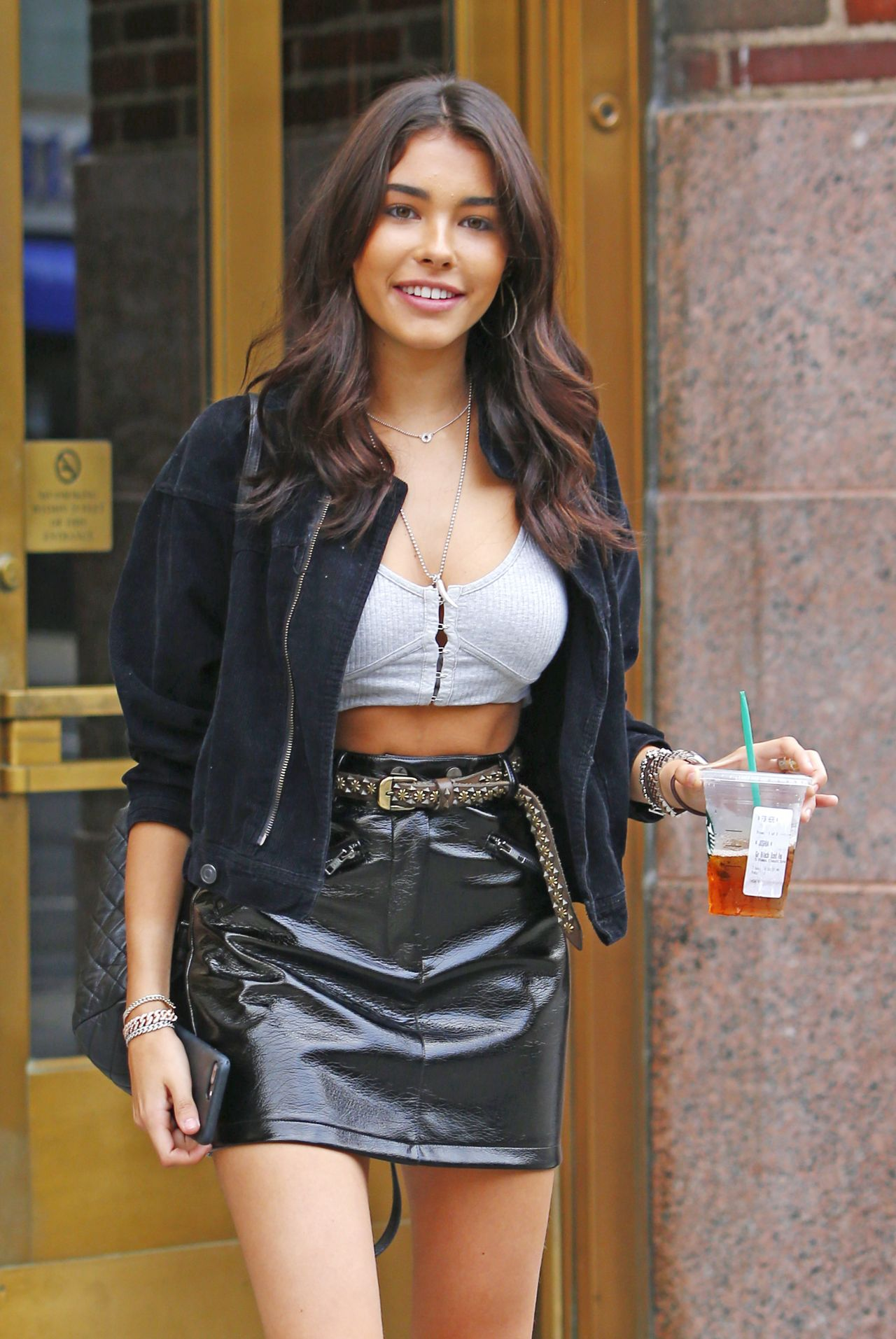 Madison Beer Wears Leather Mini Skirt - Exiting Z100 in ...