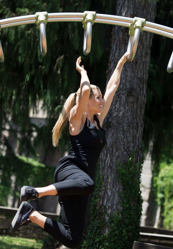 Michelle Hunziker at Park in Bergamo, Italy 07/15/2017