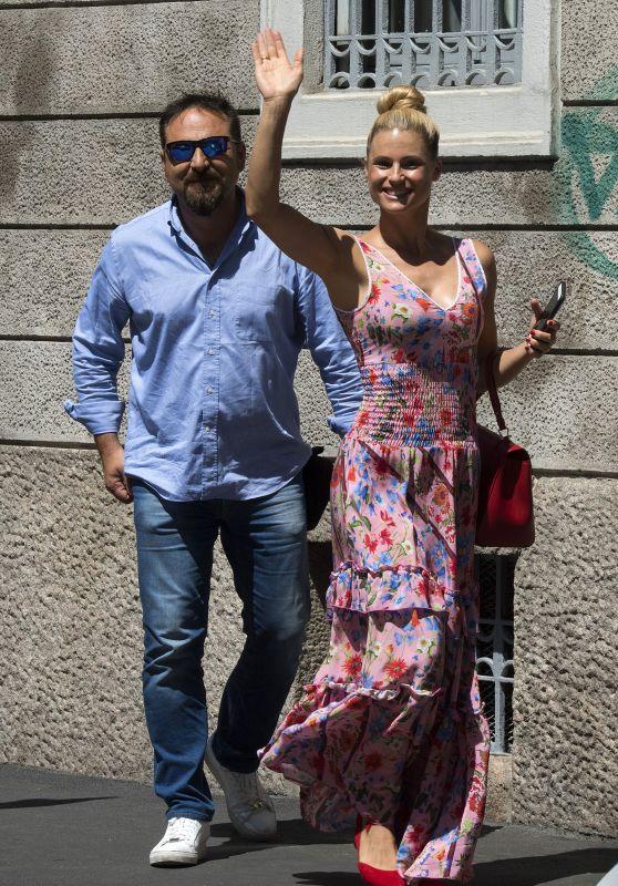 Michelle Hunziker - Shopping in Milan, Italy 07/14/2017