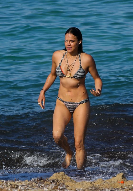 Michelle Rodriguez Bikini Photos - Beach in St Tropez 07/10/2017